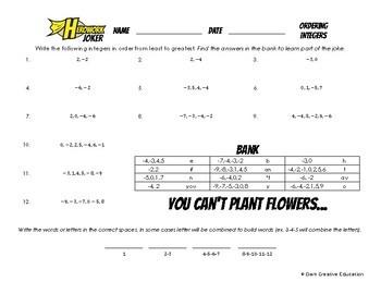 Herowork - Integers Ordering - Harriet Tubman Mystery Pic and Botany Joke