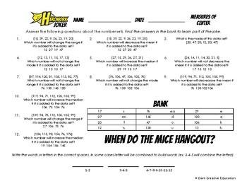 Herowork - Measures of Center - Raccoon Mystery Pic and Mice Joke