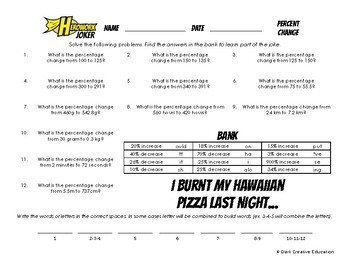 Herowork - Percent Change - American Revolution Mystery Pic and Pizza Joke