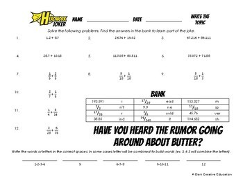 Herowork - Rational Numbers Adding - Mandela Mystery Pic and Butter Joke