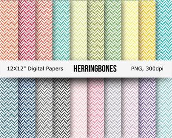 Herring bones digital papers, patterned paper, backgrounds