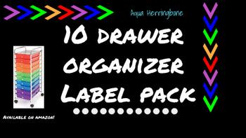 Herringbone Labels for 10-Drawer Organizer (Aqua and Black)