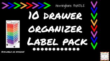 Herringbone Labels for 10-Drawer Organizer BUNDLE