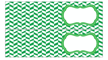 Herringbone Labels for 10-Drawer Organizer (Green and Black)