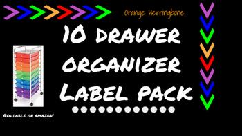 Herringbone Labels for 10-Drawer Organizer (Orange and Black)