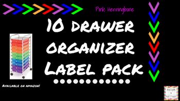Herringbone Labels for 10-Drawer Organizer (Pink and Black)