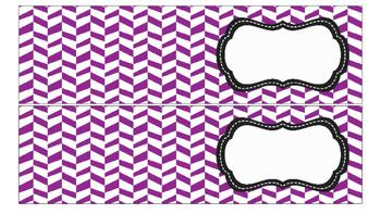 Herringbone Labels for 10-Drawer Organizer (Purple and Black)
