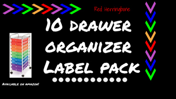 Herringbone Labels for 10-Drawer Organizer (Red and Black)