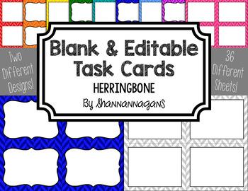 Blank Task Cards-Basics: Herringbone (300dpi) with Editabl