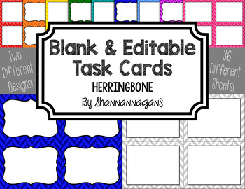 Herringbone Blank Task Cards (Basic Colors)