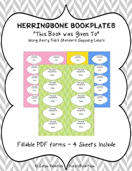 BOOKPLATES - Herringbone - This Book was Given to - 4 Sheets - Fillable PDF