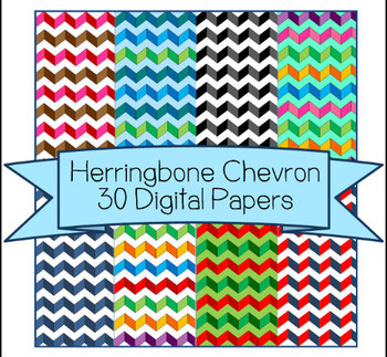 Herringbone Chevron 30 Digital Papers - Clip Art