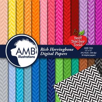 Herringbone Digital Papers, Chevron Digital paper {Best Teacher Tools} AMB-1926