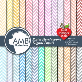 Herringbone Digital Papers, Pastel Chevrons {Best Teacher Tools} AMB-1927