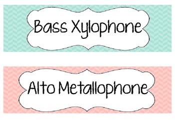 Herringbone Orff Instrument Labels