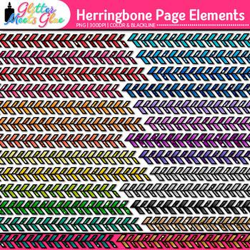 Herringbone Page Dividers Clip Art {Rainbow Glitter Borders for Worksheets}