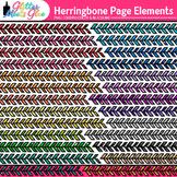 Herringbone Page Dividers Clip Art {Rainbow Glitter Border