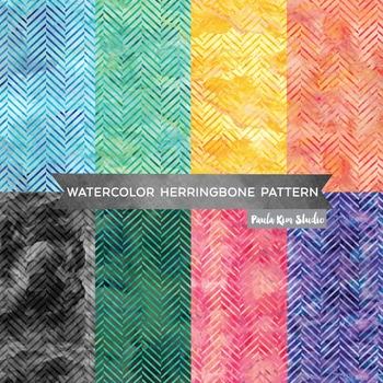 Herringbone Pattern Watercolor Backgrounds