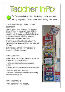 Herringbone Theme Classroom Behavior Clip Up Chart