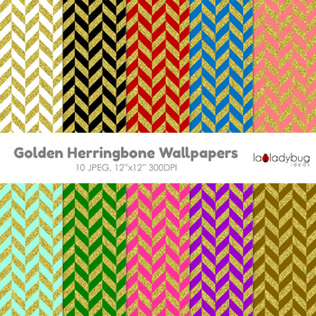 Herringbone pattern gold and color digital papers. Wallpaper. Background.
