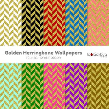 Herringbone pattern gold and color digital papers. Wallpap