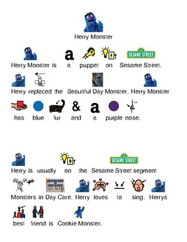 Herry Monster - Sesame Street - picture supported text lesson article review