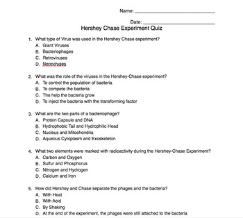 Hershey Chase Experiment Quiz