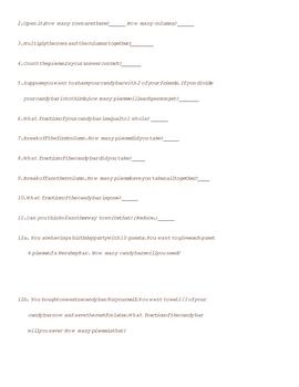 Hershey Fractions Printable Activities