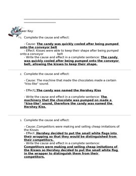 Hershey Kiss Cause and Effect Passage and Questions