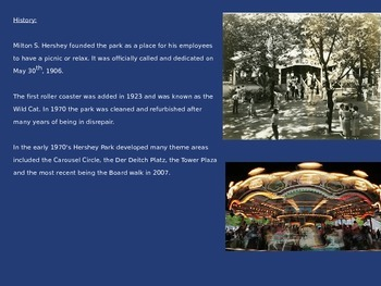 Hershey Park Pennsylvania - Power Point - Information Pictures Facts History