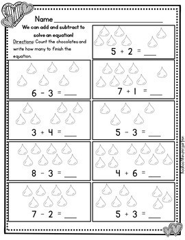Hershey's Kiss Addition and Subtraction (0-10)