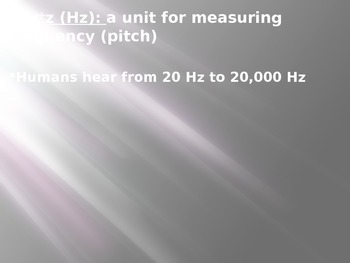 Hertz (sound) PowerPoint: includes infrasonic and ultrasonic