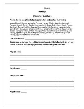 Herzog Character Analysis Activity - Saul Bellow