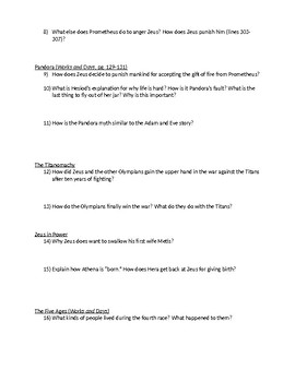 Hesoid's Theogony and Works and Days Discussion Questions