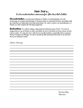 Hester's Diary Entry - Characterization for The Scarlet Letter