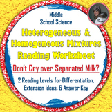 Heterogeneous and Homogeneous Mixtures: Differentiated Milk Reading Worksheet