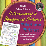 Heterogeneous and Homogeneous Mixtures Write and Draw Worksheet