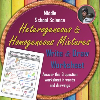 Heterogeneous and Homogeneous Mixtures Write and Draw Worksheet