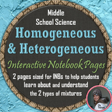 Heterogeneous and Homogeneous Mixtures Interactive Notebook Pages