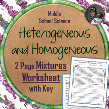 Heterogeneous and Homogeneous Mixtures Worksheet
