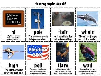 Heterographs Matching Game Set 8 Long Vowel FREEBIE