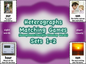 Heterographs Matching Games Sets 1-2 Sight Words/Short Vow