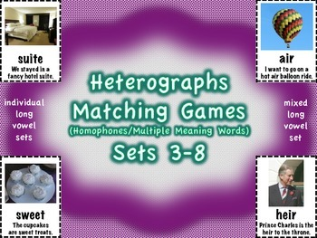 Heterographs Matching Games Sets 3-8 Long Vowels (Homophones)