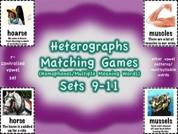 Heterographs Matching Games Sets 9-11 Other Patterns/Multisyllable (Homophones)