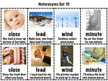 Heteronyms Matching Game Set 1 FREEBIE