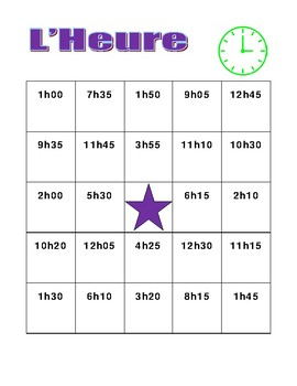 Heure (Time in French) Bingo
