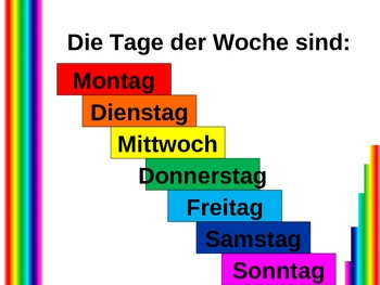 Heute und Morgen (Days of the week in German) power point
