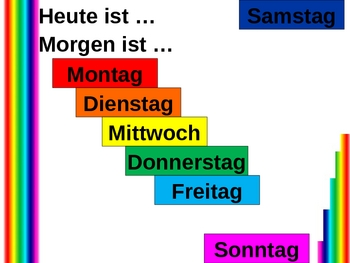 Heute und Morgen (Days of the week in German) power point