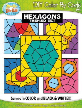 Hexagon 2D Shapes Color By Code Clipart {Zip-A-Dee-Doo-Dah Designs}