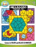 Hexagon 2D Shapes Color By Code Clipart {Zip-A-Dee-Doo-Dah Designs}